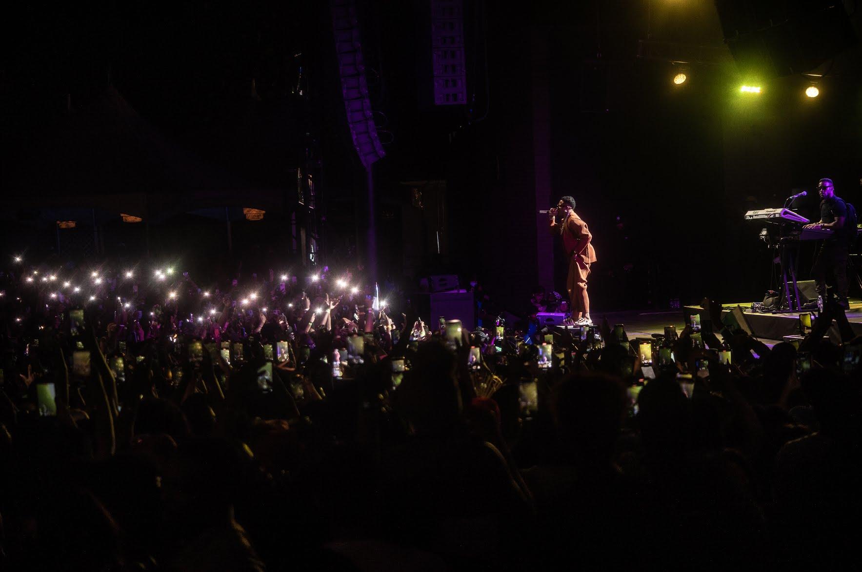 Wizkid on stage singing to fans